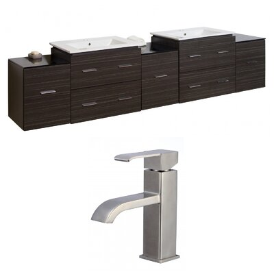 Kyra 90 Rectangular Double Bathroom Vanity Set with Glass Top