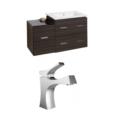 Kyra 38 Multi-Layer Stain Single Bathroom Vanity Set with 3 Drawers