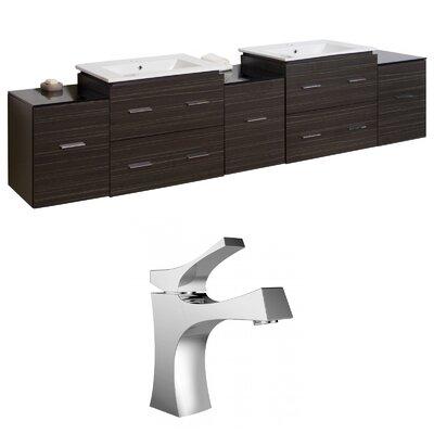 Kyra 90 Double Bathroom Vanity Set with Glass Top