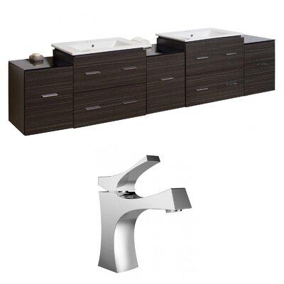 Kyra 90 Rectangular Wood Double Bathroom Vanity Set with Glass Top