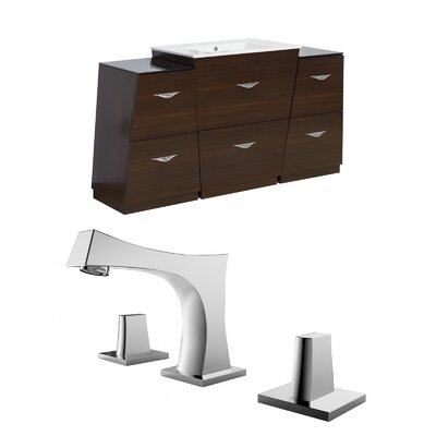 Kao Floor Mount 53 Single Bathroom Vanity Set Faucet Mount: 8 Centers