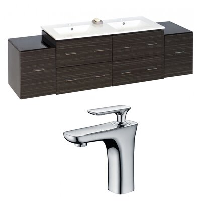 Kyra 76 Rectangular Wood Double Bathroom Vanity Set