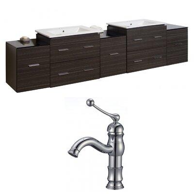 Kyra 90 Natural Wood Double Bathroom Vanity Set