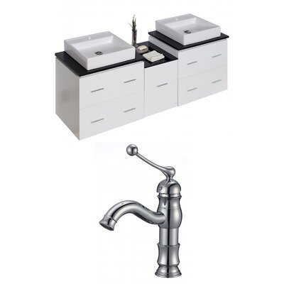 Kyra 62 Double Bathroom Vanity Set with Glass Top