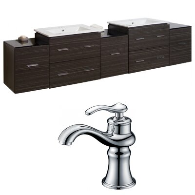 Kyra 90 Double Bathroom Vanity Set with 7 Drawer