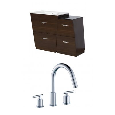 Kao Modern Floor Mount 40.5 Single Bathroom Vanity Set Faucet Mount: 8 Centers