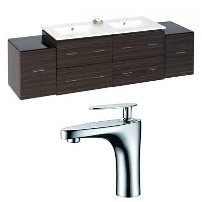Kyra 76 Rectangular Solid Wood Double Bathroom Vanity Set