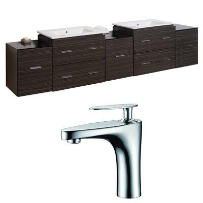 Kyra Transitional 90 Rectangular Double Bathroom Vanity Set