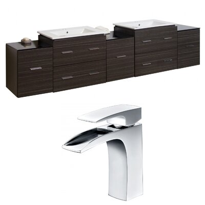 Kyra 90 Multi-Layer Stain Rectangular Double Bathroom Vanity Set with Glass Top