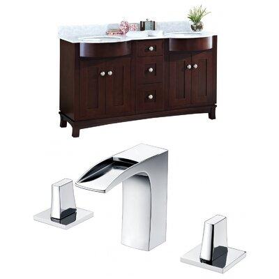 Tiffany 60 Double Bathroom Vanity Set Sink Finish: Biscuit