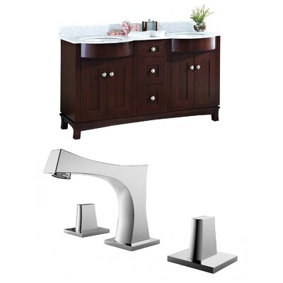 Kester 60 Double Bathroom Vanity Set with Stone Top Sink Finish: Biscuit