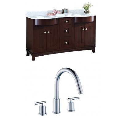 Kester 60 Rectangular Wood-Veneer Double Bathroom Vanity Set Sink Finish: Biscuit