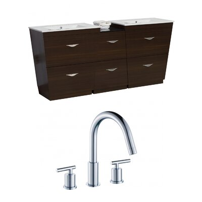 Kao Floor Mount 61.5 Single Bathroom Vanity Set Faucet Mount: 8 Centers