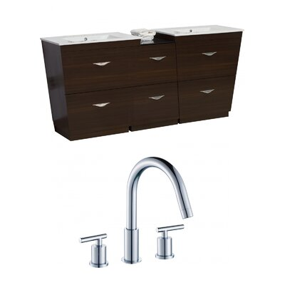Kao Floor Mount 74 Single Bathroom Vanity Set Faucet Mount: 8 Centers