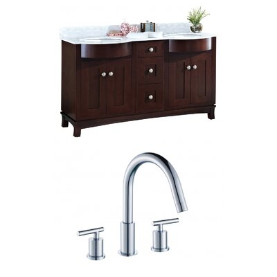 Kester 60 Rectangular Wood-Veneer Double Bathroom Vanity Set Sink Finish: White