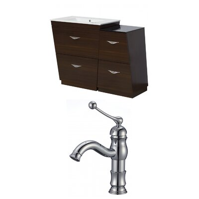 Kao Modern Floor Mount 40.5 Single Bathroom Vanity Set Faucet Mount: Single Hole