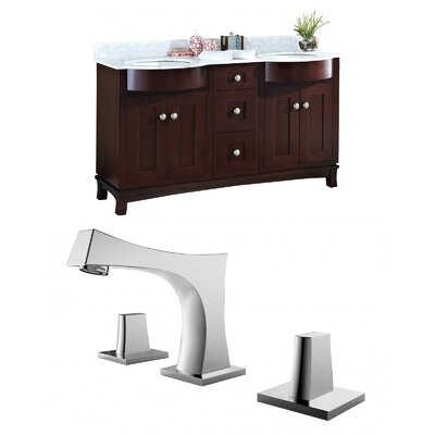 Kester 60 Double Bathroom Vanity Set with Stone Top Sink Finish: White