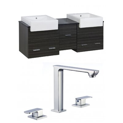 Mulberry Wall Mount 62 Single Bathroom Rectangular Vanity Set Faucet Mount: 8 Centers