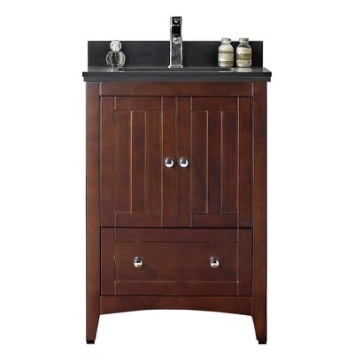 23.5 Single Bathroom Vanity Set Base Finish: Walnut, Top Finish: Black Galaxy, Faucet Mount: 8 Center