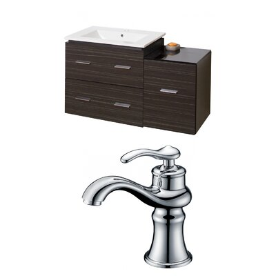 Kyra Modern 38 Multi-Layer Stain Single Bathroom Vanity Set with 3 Drawers