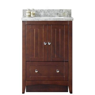 Nixon Floor Mount 23.75 Single Bathroom Rectangular Vanity Set Top Finish: Black Galaxy, Sink Finish: White, Faucet Mount: 4 Centers