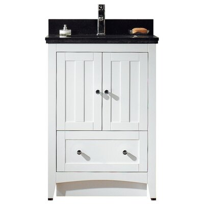 23.5 Single Bathroom Vanity Set Top Finish: Bianca Carara, Faucet Mount: 4 Center