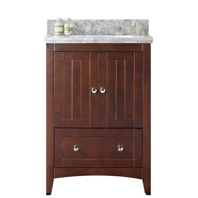 Nixon Floor Mount 23.75 Single Bathroom Plywood Vanity Set Top Finish: Bianca Carara, Sink Finish: Biscuit, Faucet Mount: 8 Centers