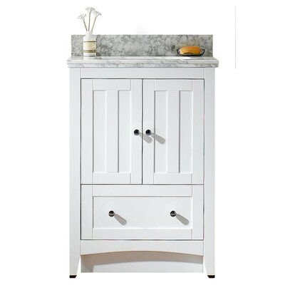 Nixon Floor Mount 23.75 Single Bathroom Rectangular Plywood Vanity Set Top Finish: Bianca Carara, Sink Finish: White, Faucet Mount: 4 Centers