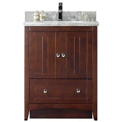 Shaker 29.5 Bathroom Vanity Base Finish: Walnut, Top Finish: Bianca Carara, Faucet Mount: Single