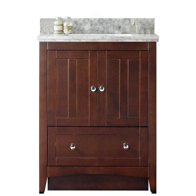 Shaker 29.5 Bathroom Vanity Base Finish: Walnut, Top Finish: Black Galaxy, Faucet Mount: Single