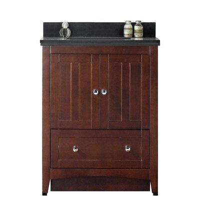 Shaker 29.5 Bathroom Vanity Top Finish: Black Galaxy, Faucet Mount: 4 Center, Base Finish: Walnut