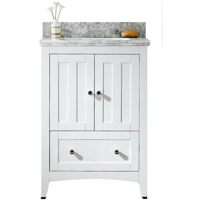 Nixon Floor Mount 23.75 Single Bathroom Vanity Set with Ceramic Top Sink Finish: Biscuit, Faucet Mount: 8 Centers, Top Finish: Bianca Carara
