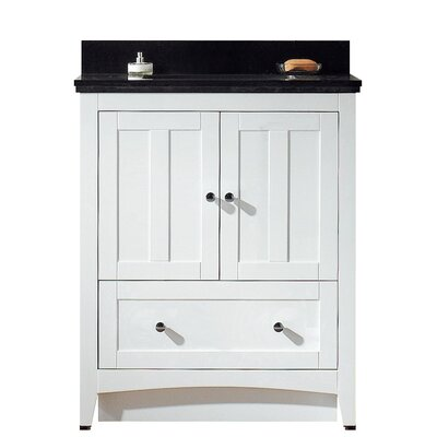 Shaker 29.5 Bathroom Vanity Base Finish: White, Top Finish: Black Galaxy, Faucet Mount: 8 Center
