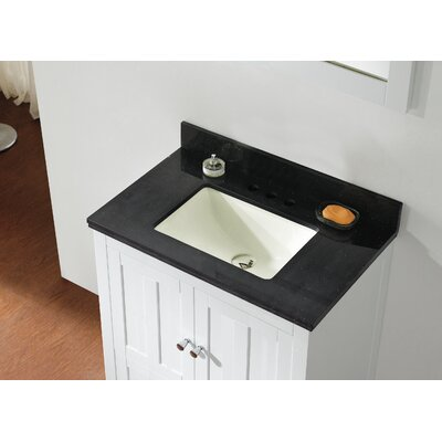 Shaker 29.5 Bathroom Vanity Base Finish: White, Top Finish: Black Galaxy, Faucet Mount: 4 Center