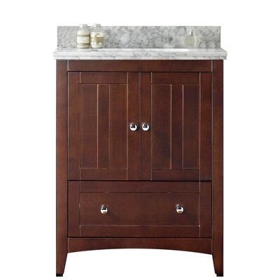 29.5 Single Bathroom Vanity Set Base Finish: White, Faucet Mount: 4 Center, Top Finish: Black Galaxy