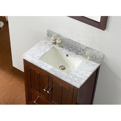 Shaker 29.5 Bathroom Vanity Top Finish: Bianca Carara, Faucet Mount: 8 Center, Base Finish: Walnut