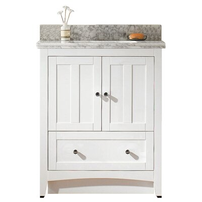 Shaker 29.5 Bathroom Vanity Base Finish: White, Top Finish: Bianca Carara, Faucet Mount: 8 Center