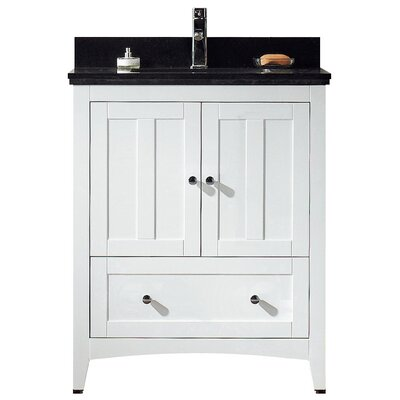 29.5 Single Bathroom Vanity Set Base Finish: White, Top Finish: Black Galaxy, Faucet Mount: Single