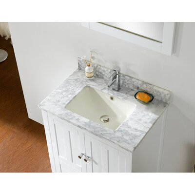 Shaker 29.5 Bathroom Vanity Base Finish: White, Top Finish: Bianca Carara, Faucet Mount: Single