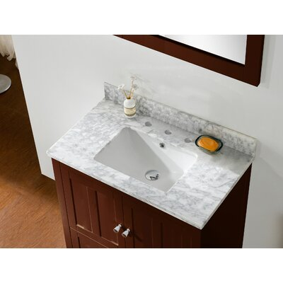 35.5 Single Bathroom Vanity Set Faucet Mount: 4 Center, Top Finish: Bianca Carara, Base Finish: White