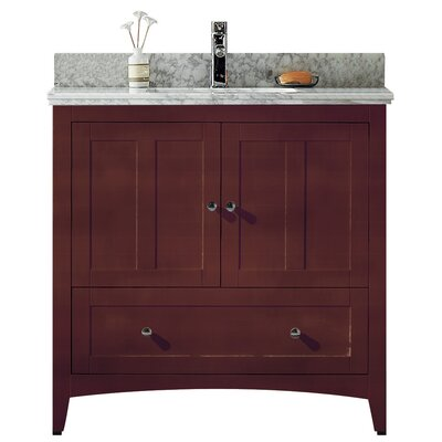 35.5 Single Bathroom Vanity Set Base Finish: Walnut, Top Finish: Bianca Carara, Faucet Mount: Single