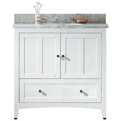 35.5 Single Bathroom Vanity Set Base Finish: White, Top Finish: Bianca Carara, Faucet Mount: 8 Center