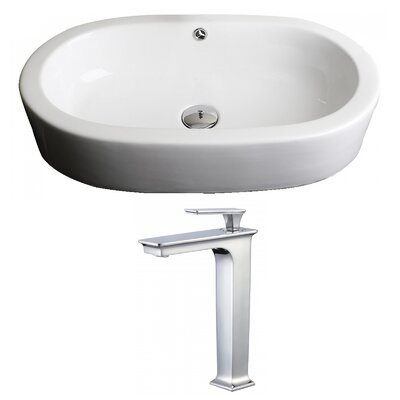 Transition Ceramic Oval Vessel Bathroom Sink with Faucet and Overflow