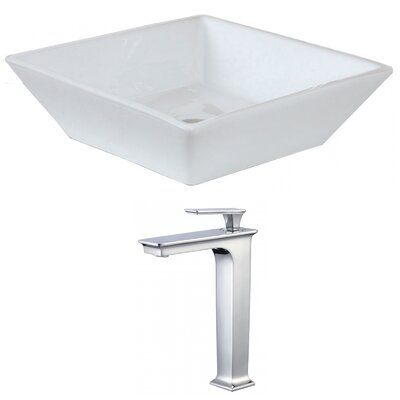 Ceramic Square Vessel Bathroom Sink with Faucet and Overflow