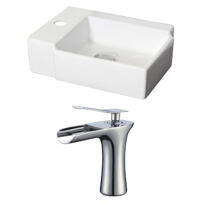 Rectangular 16 Wall Mount Bathroom Sink with Overflow