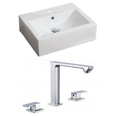 Rectangular 20 Wall Mount Bathroom Sink with Overflow