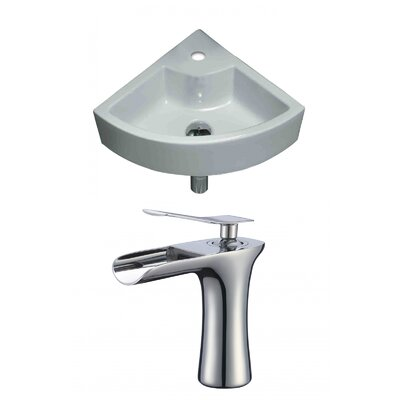 Specialty Ceramic 19 Wall Mount Bathroom Sink with Faucet and Overflow