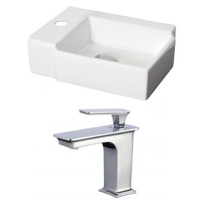 Ceramic 17 Wall Mount Bathroom Sink with Faucet and Overflow