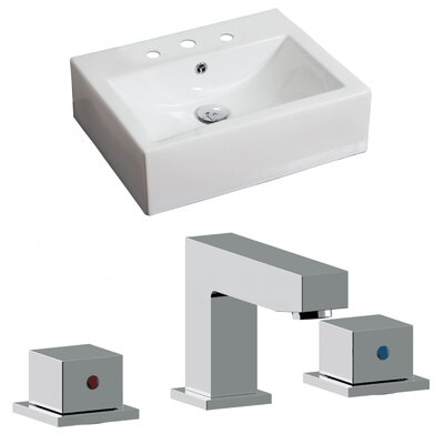 Ceramic Rectangular Vessel Bathroom Sink with Faucet and Overflow