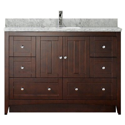47.5 Single Bathroom Vanity Set Base Finish: White, Faucet Mount: 8 Center, Top Finish: Bianca Carara